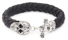 King Baby Studio Sterling Silver & Leather Braided Skull Bracelet