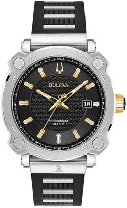 Bulova Men's Grammy Stainless Steel & Black Rubber Strap Watch 41mm