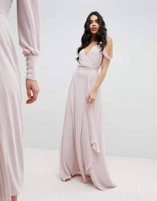 TFNC Cold Shoulder Wrap Maxi Bridesmaid Dress With Fishtail