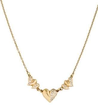 18K Triple Diamond Heart Necklace