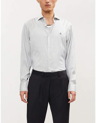 Vivienne Westwood Logo-embroidered regular-fit striped cotton and silk-blend shirt