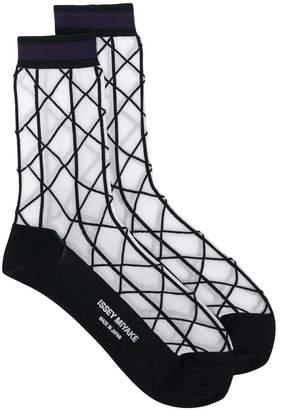 Issey Miyake check socks