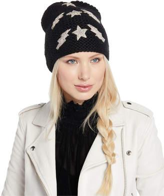 Jennifer Behr Bowie Lightning Bolts & Stars Embellished Beanie Hat