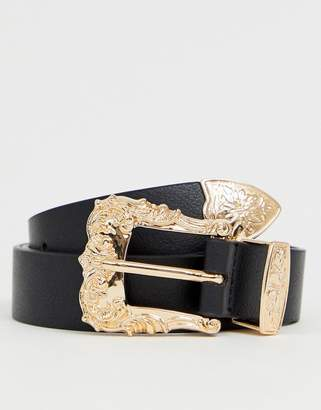 Asos Design DESIGN faux leather slim belt in black with gold western buckle