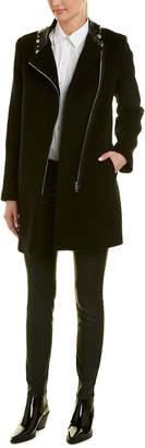 Sandro Embellished Leather-Trim Wool-Blend Coat