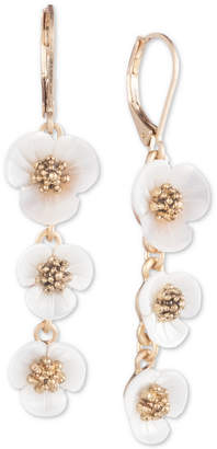 lonna & lilly lonn & lilly Gold-Tone & Imitation Mother-of-Pearl Flower Linear Drop Earrings