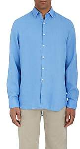 Piattelli MEN'S LINEN BUTTON-FRONT SHIRT-LT. BLUE SIZE S