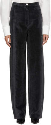 Lemaire Grey Velvet Cord High-Waisted Trouser