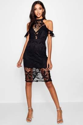 boohoo Lace Cold Shoulder Midi Dress