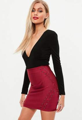 Missguided Burgundy Lace Up Side Bandage Skirt