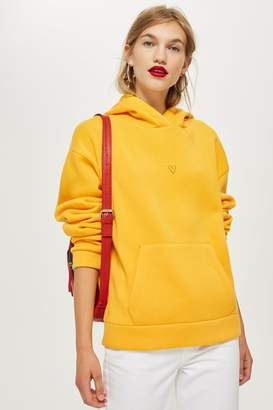 Topshop Womens Petite Yellow Heart Hoodie - Yellow