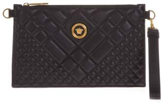 Versace Black Quilted Leather Clutch With Medusa Logo