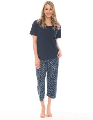 Pink Lady Women s 2 Piece Capri and Tee Lightweight Cotton Pajama Set  (Peacoat Blue Butterfly 2613e6612