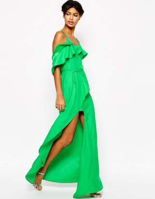 ASOS Cold Shoulder Ruffle Cami Maxi Dress $83 thestylecure.com