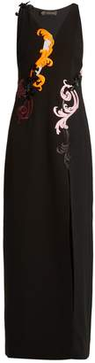 Versace Embroidered sleeveless silk-cady gown