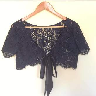 The Silk Boutique Cropped Lace Cape In Black Or White