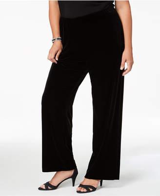 Alex Evenings Plus Size Velvet Wide-Leg Pants