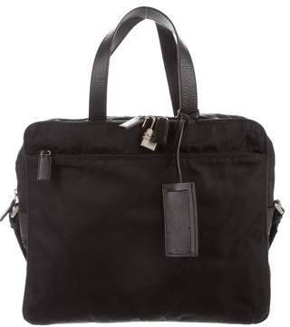 Prada Leather-Trimmed Tessuto Briefcase