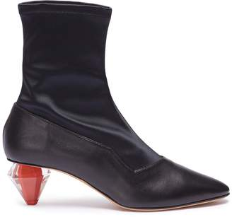 Gray Matters 'Diamante' geometric heel satin panel leather boots