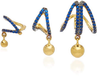 Joanna Laura Constantine Set of Three Criss-Cross Gold-Plated Brass and Cubic Zirconia Earrings
