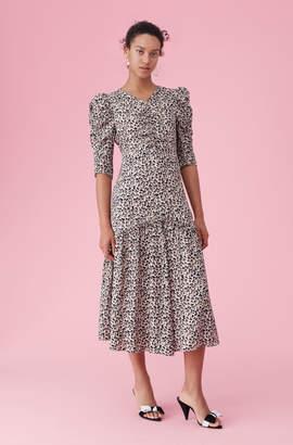 Rebecca Taylor Leopard Print Silk Ruched Dress