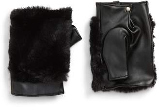 Leith Faux Fur & Faux Leather Fingerless Gloves