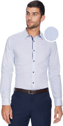 yd. WHITE/BLUE APSLEY SLIM FIT SHIRT