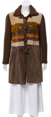 Philosophy di Alberta Ferretti Striped Suede Coat