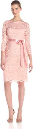 Marina Women's Gramercy Stretch Floral Lace 3/4 Sleeve Dress with Tiered Skirt and Satin Ribbon