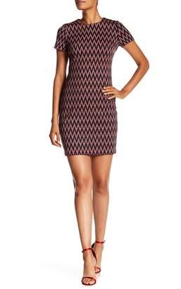 Modern American Designer Zigzag Print Ponte Knit Dress