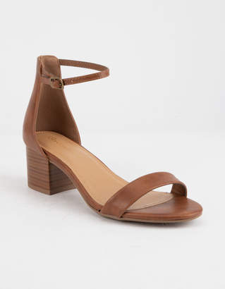 City Classified Ankle Strap Stacked Tan Womens Heeled Sandals