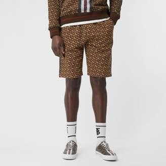 Burberry Monogram Stripe Print Cotton Drawcord Shorts