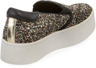 Kenneth Cole Joanie Glittered Leather Platform Sneakers