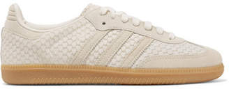 adidas Samba Suede-trimmed Snake-effect Leather Sneakers - Off-white