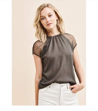 Dynamite Short Sleeve Lace Blouse COOL MAGMA