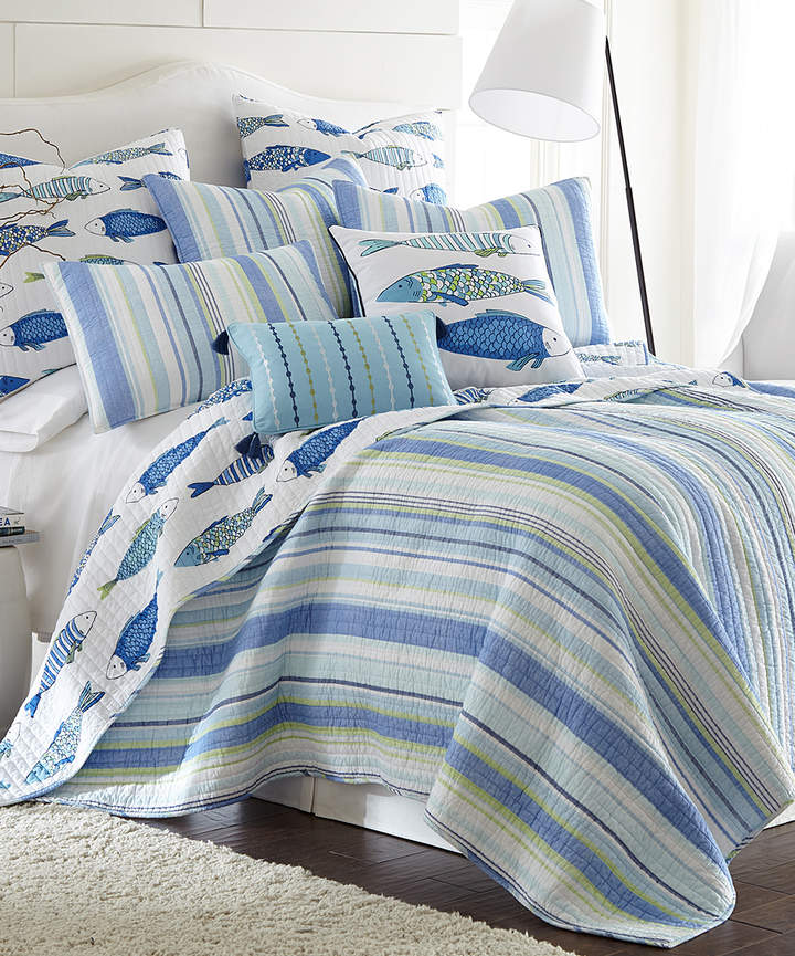 Blue Marine Stripe Quilt Set