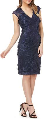 Carmen Marc Valvo Embroidered Sheath Dress