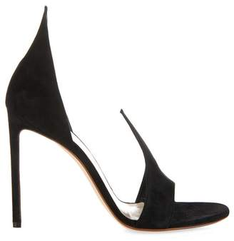 Francesco Russo Open Toe Suede Pumps - Womens - Black