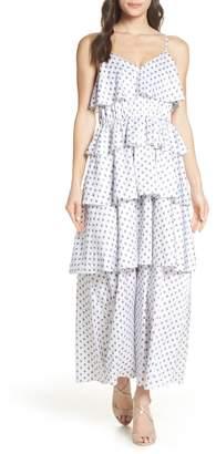 AVEC LES FILLES Ditsy Paisley Tiered Maxi Dress