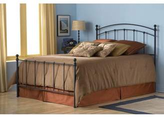 Leggett & Platt Sanford Complete Metal Bed and Steel Support Frame with Castings and Round Finial Posts, Matte Black Finish, California King
