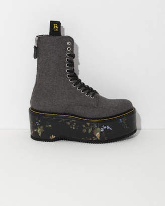R 13 Black Double Stack Boot with Floral Platform