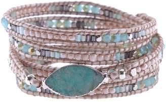 Nakamol Design Beaded Agate Wrap Bracelet