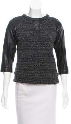 Gryphon Patterned Leather-Accented Sweater