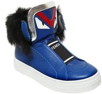 Fendi Monster Leather Sneakers W/ Rabbit Fur