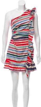 Red Carter Striped One-Shoulder Dress w/ Tags