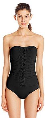 Jantzen Women's Pintuck Bandeau One Piece Swimsuit $37.99 thestylecure.com