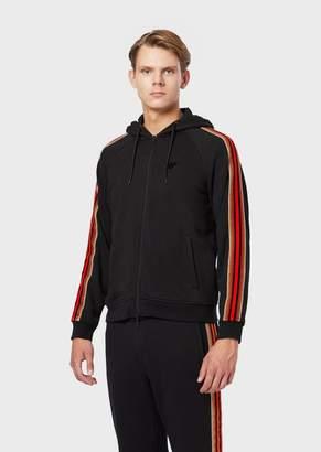 Emporio Armani Sweatshirt With Zip, Hood And Side Band