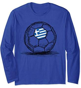 Greece Greek Flag on Soccer Ball Long Sleeve Shirt