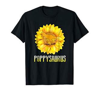 Poppy saurus T shirt T rex Sunflower Dinosaur Men Dad Papa