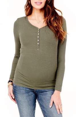 Ingrid & Isabel R) Ribbed Maternity/Nursing Henley Tee